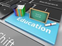 3d Blackboard, graduation cap and books on computer keyboard. Stock Photography