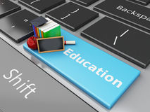 3d Blackboard, graduation cap and books on computer keyboard. 3d renderer illustration. Blackboard, graduation cap and books on computer keyboard. Education Stock Image