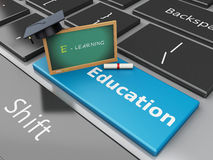 3d Blackboard, graduation cap and diploma on computer keyboard. 3d renderer illustration. Blackboard, graduation cap and diploma on computer keyboard. Education Stock Photography