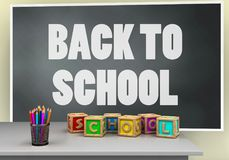 3d blackboard. 3d illustration of blackboard with back to school text and letters cubes Royalty Free Stock Photos