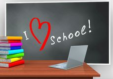 3d blackboard. 3d illustration of blackboard with love school text and laptop computer Royalty Free Stock Photography
