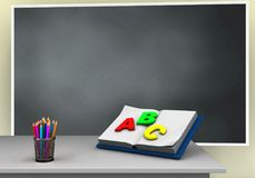 3d blackboard. 3d illustration of blackboard with opened textbook and Stock Photography