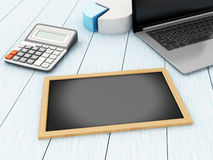 3d Blackboard, laptop and calculator. 3d Illustration. Blackboard, laptop and calculator. Business concept Royalty Free Stock Image