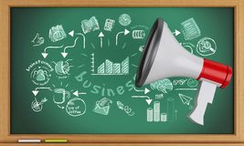 3d Blackboard with megaphone and business sketch. 3d renderer image. Blackboard with megaphone and business sketch Stock Image