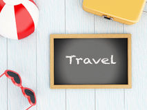 3d Blackboard, travel suitcase, beach ball and sunglasses Stock Image