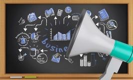 3d Blackboard z biznesowym nakreśleniem i megafonem Fotografia Stock