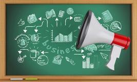 3d Blackboard z megafonem i biznesowym nakreśleniem Obraz Stock