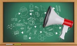 3d Blackboard z nauką i chemia kreślimy z megafonem ilustracja wektor