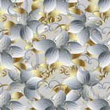 3d blanc fleurit le modèle sans couture Lumière b floral de vecteur de vintage Images libres de droits