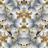 3d blanco florece el modelo inconsútil abstracto rayado Vecto floral Fotografía de archivo