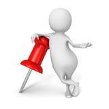 3d blanco Person With Red Pin Foto de archivo libre de regalías