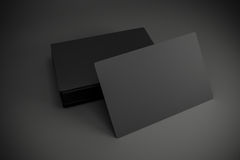 3d blank black business cards. On dark gray background Stock Photography
