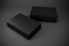 3d blank black business cards. On dark gray background Royalty Free Stock Photography
