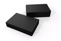 3d blank black business cards. On white background Stock Photography