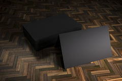 3d blank black business cards. On wooden background Royalty Free Stock Photos