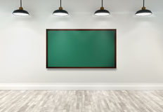 3d blank blackboard on classroom. With ceiling lamp Stock Photo