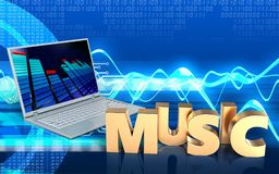 3d blank blank. 3d illustration of laptop computer over cyber background with music sign Royalty Free Stock Photos