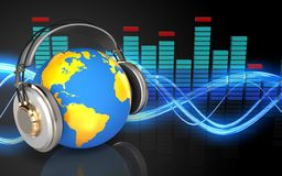 3d blank blank. 3d illustration of world in headphones over sound wave black background Royalty Free Stock Photos