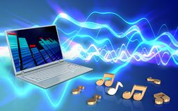 3d blank blank. 3d illustration of laptop computer over sound waves blue background with notes Stock Images