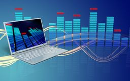 3d blank blank. 3d illustration of laptop computer over wave blue background Royalty Free Stock Images