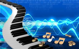 3d blank blank. 3d illustration of piano keys over cyber background with notes Stock Photos
