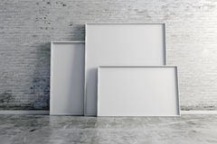 3d blank boards on vintage brick wall Royalty Free Stock Image