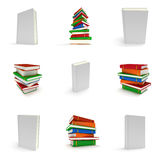 3D blank book cover over white background set Stock Photo