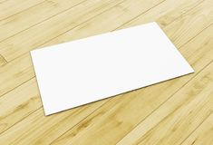 3d blank business card on wooden table. 3d illustration. blank business card on wooden table. Mock up for your design Stock Image