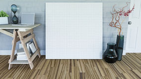 3D blank canvas leaning against a wall in a room interior. 3D render of a blank canvas leaning against a wall in a room interior stock illustration