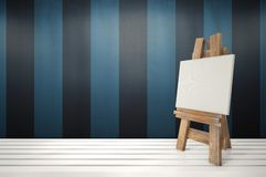 3d blank canvas with small  easel on white table Royalty Free Stock Image