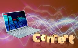 3d blank concert sign. 3d illustration of laptop computer over red sound wave background with concert sign Stock Photo