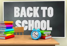 3d blank. 3d illustration of blackboard with back to school text and alarm clock Royalty Free Stock Images
