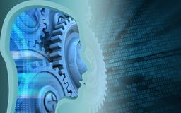 3d blank. 3d illustration of blue gears over binary background with head profile Stock Photos