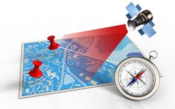 3d blank. 3d illustration of blue map with red pins and satellite Stock Photos