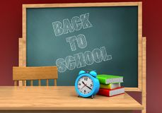 3d blank. 3d illustration of board with back to school text and alarm clock Royalty Free Stock Photo