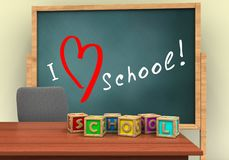 3d blank. 3d illustration of board with love school text and letters cubes Stock Photos