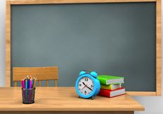 3d blank. 3d illustration of chalkboard with alarm clock and Stock Image