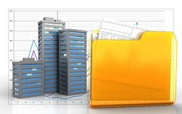 3d blank. 3d illustration of city buildings over business graph background Royalty Free Stock Photography
