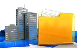 3d blank. 3d illustration of city buildings over white background Stock Photos
