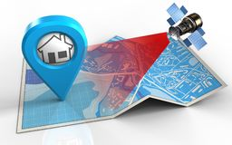 3d blank. 3d illustration of city map with home point and satellite Royalty Free Stock Photo