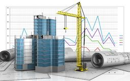 3d blank. 3d illustration of city quarter construction over business graph background Stock Image