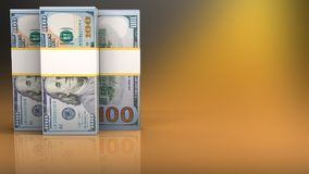 3d blank. 3d illustration of dollar banknotes over yellow background Royalty Free Stock Photos