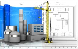 3d blank. 3d illustration of factory with drawing roll over blueprint background Royalty Free Stock Images