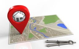 3d blank. 3d illustration of map with home pin and Stock Photos