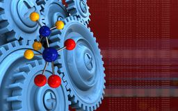 3d blank. 3d illustration of molecule over red background with blue gears Royalty Free Stock Photo