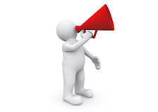 3d blank figure holding megaphone, speaking, talking, scream. Royalty Free Stock Photo
