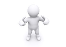 3d blank figure thump up, say yes, success. Royalty Free Stock Photo