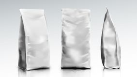 3D Blank Foil Or Paper Food Pouch Bag Pack. EPS10 Vector Royalty Free Stock Photos
