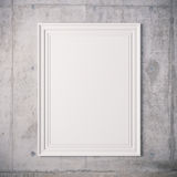 3d blank frame poster. On white wall Stock Photo