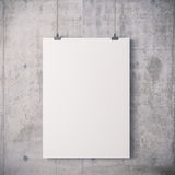 3d blank frame poster. On white wall Royalty Free Stock Photo